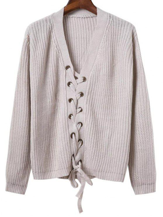 Lace Up Solid Color V Neck Sweater - Gris TAILLE MOYENNE