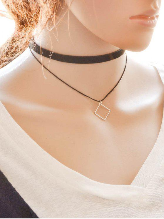 chic Alloy Square Choker - BLACK