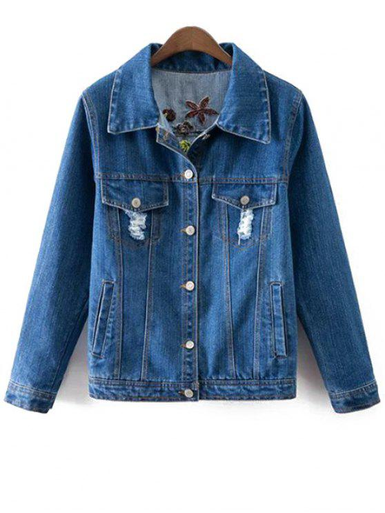 trendy Floral Embroidery Shirt Neck Ripped Denim Jacket - BLUE L