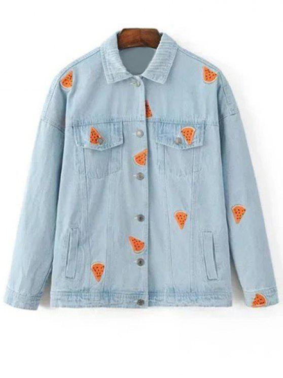 unique Watermelon Embroidery Denim Jacket - LIGHT BLUE M