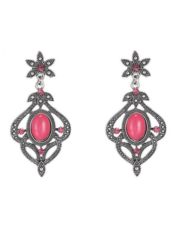 Pendientes de diamantes de imitación floral - Rojo