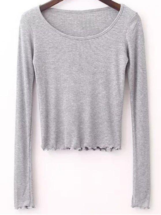 Manga del color sólido camiseta larga - Gris M