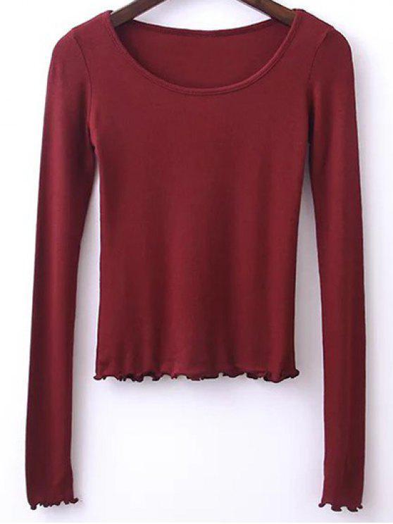 T-shirt à couleur pure à col rond à manches longues - Rouge vineux  M