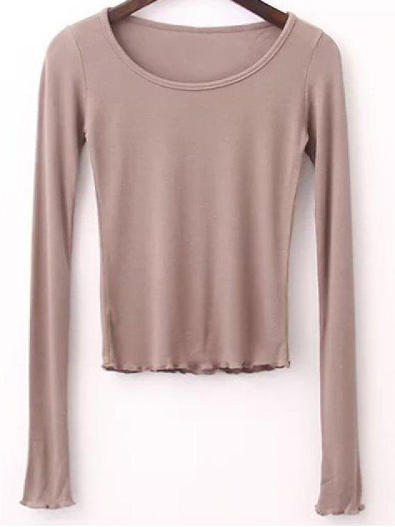 T-shirt à couleur pure à col rond à manches longues - Kaki Léger M