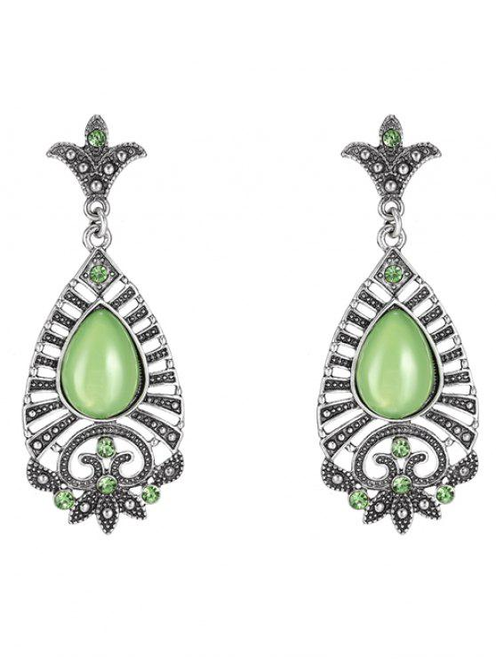 sale Water Drop Leaf Earrings - GREEN