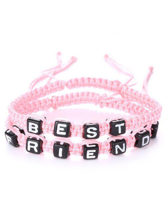 Lettres Best Friend Tissé Bracelets - ROSE PÂLE