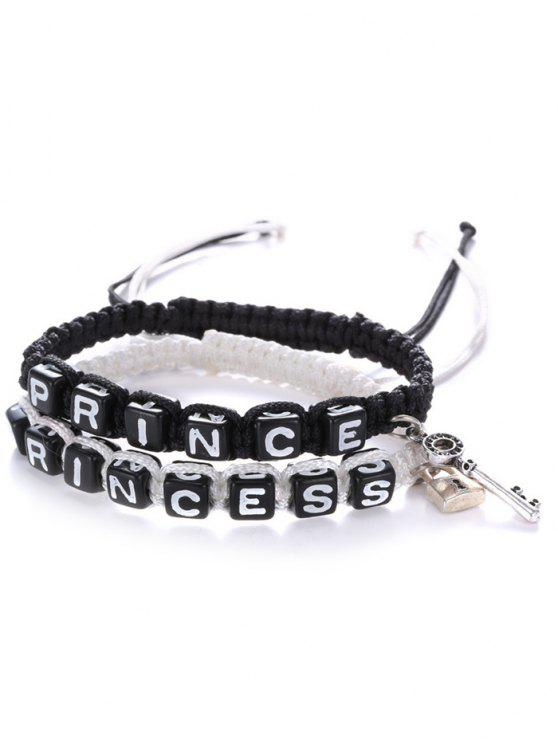 shop Letters Prince Princess Woven Bracelets - WHITE AND BLACK