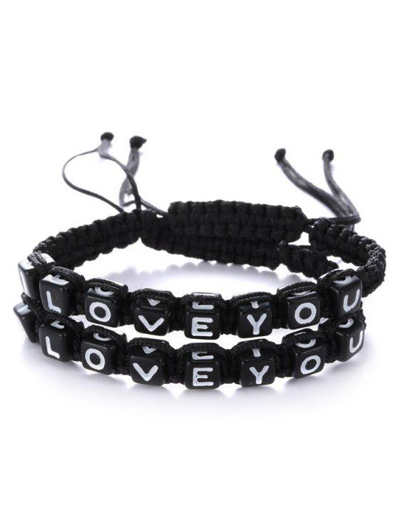 women Letters I Love You Bracelets - BLACK