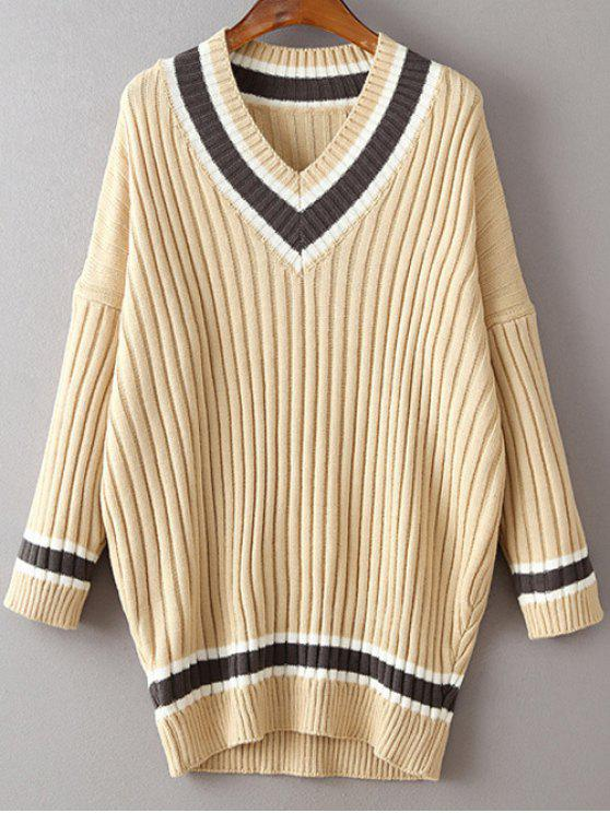 V Neck Striped Pull à manches longues - Kaki Clair TAILLE MOYENNE