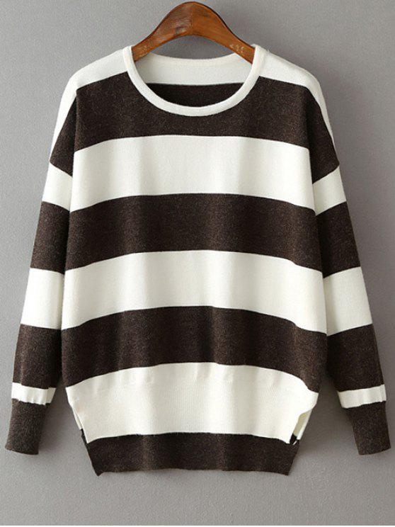 trendy High Low Hem Round Neck Striped Sweater - DEEP GRAY ONE SIZE