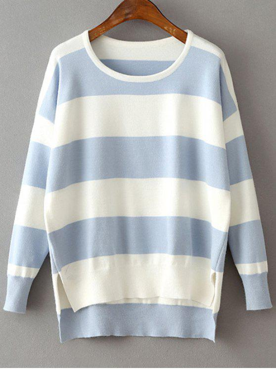chic High Low Hem Round Neck Striped Sweater - LIGHT BLUE ONE SIZE