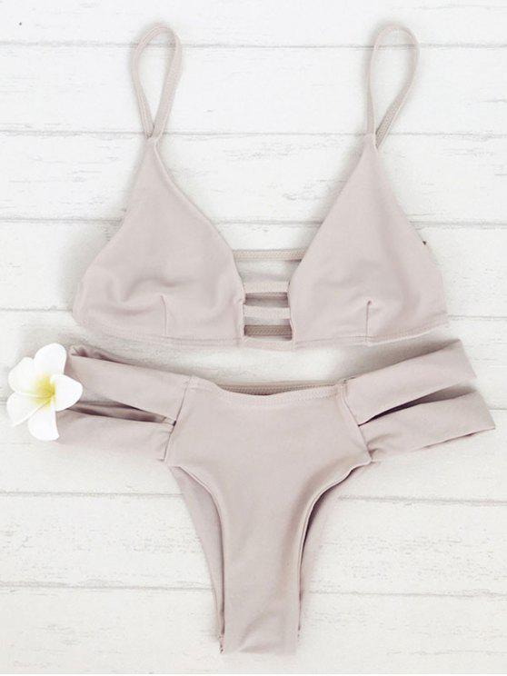 women's Spaghetti Straps Solid Color Bandage Bikini Set - LIGHT CAMEL M