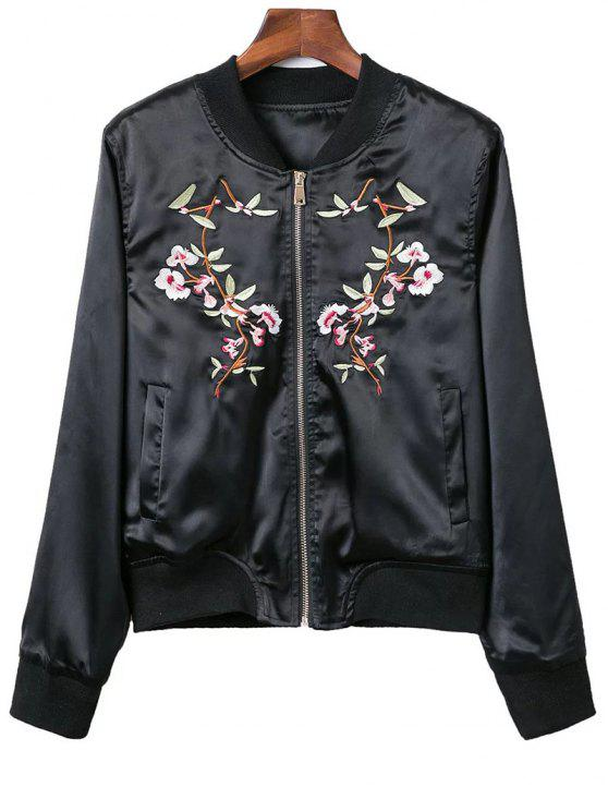 sale Stand Neck Pockets Floral Embroidery Jacket - BLACK S