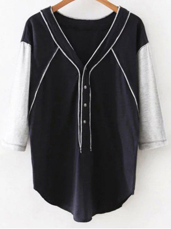 Hit de color con cuello en V 3/4 camiseta de la manga - Azul Marino  S