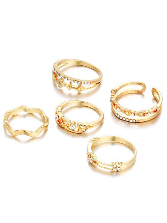 Anillos de diamantes de imitación del corazón - Dorado Uno de tamaño