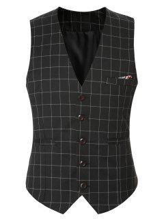 Plaid Buckle Back Single Breasted Vest For Men - Black M
