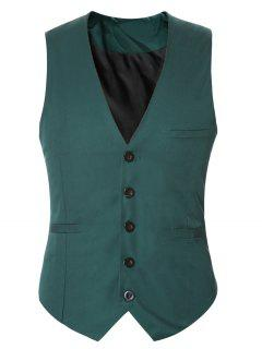 Buckle Back Solid Color Single Breasted Vest For Men - Army Green M