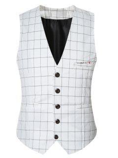 Plaid Buckle Back Single Breasted Vest For Men - White L