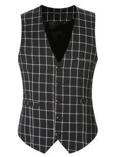 Buckle Back Plaid Single Breasted Vest For Men - Black 3xl