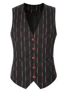 Striped Plaid Buckle Back Single Breasted Vest For Men - Black Xl