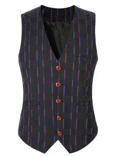 Striped Plaid Buckle Back Single Breasted Vest For Men - Purple M