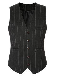 Striped Buckle Back Single Breasted Vest For Men - Black M