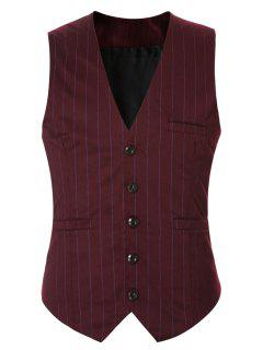 Striped Buckle Back Single Breasted Vest For Men - Red 2xl