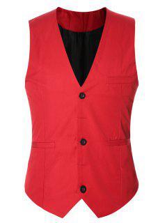 Buckle Back Solid Color Single Breasted Vest For Men - Red L