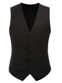 Buckle Back Solid Color Single Breasted Vest For Men - Black M