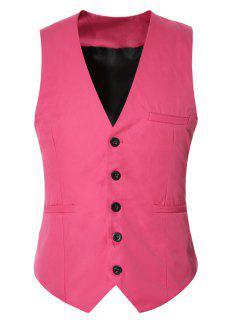 Buckle Back Solid Color Single Breasted Vest For Men - Pink L