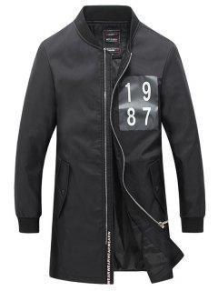Rib Cuff Number Print Snap Button Pocket Coat For Men - Black 5xl