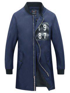 Costilla Número Manguito Del Botón De Impresión Snap Escudo De Bolsillo Para Los Hombres - Azul Xl