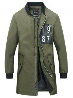 Rib Cuff Number Print Snap Button Pocket Coat For Men - Army Green 4xl