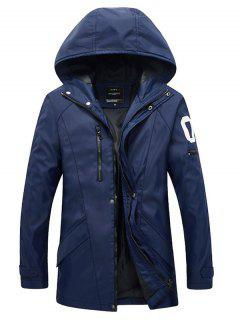 Zippered Snap Button Hooded Coat For Men - Blue L