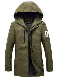 Zippered Snap Button Hooded Coat For Men - Army Green M