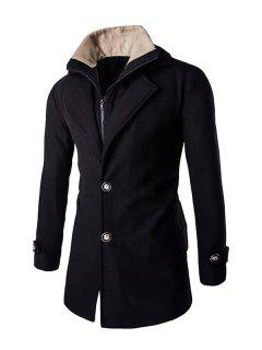 Faux Twinset Double Top Fly Col En Fourrure Manches Longues Coat For Men - Noir M