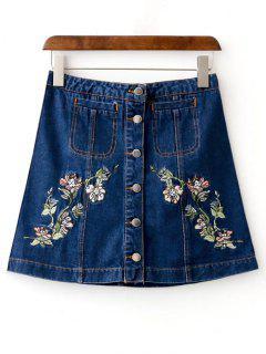 Floral Mini Denim Skirt - Deep Blue S