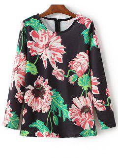 Cuello Redondo Floral De Impresión Con Capucha - Negro S