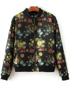 Flower Embroidery Zippered Bomber Jacket - Black S