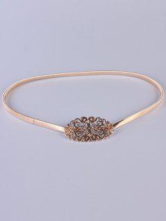 Filigrain Buckle Elastic Waist Belt - Golden