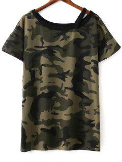 Camo Print Round Neck Short Sleeve T-Shirt Dress - Army Green