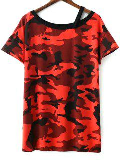 Camo Print Round Neck Short Sleeve T-Shirt Dress - Jacinth