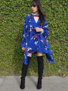 Floral Print Keyhole Neckline Long Sleeves Dress - Deep Blue M
