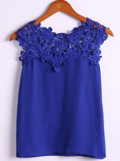 Jewel Neck Lace Splicing Tank Top - Blue M