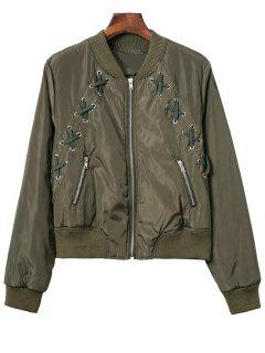 Lace Up Stand Neck Zipper Jacket - Army Green M