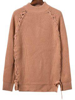 Lace Up Mock Neck Solid Color Sweater - Khaki