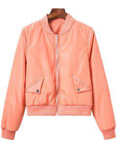 Button Embellished Solid Color Stand Neck Zipper Jacket - Orange S