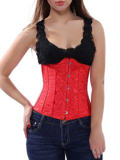 Jacquard Lace Up Corset - Red M