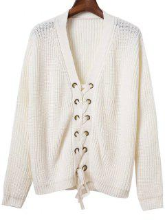 Lace Up Solid Color V Neck Sweater - Blanc