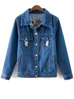 Floral Embroidery Shirt Neck Ripped Denim Jacket - Blue S